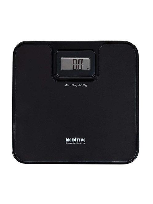 MEDITIVE Unbreakable Metal Platform Digital Human Weighing Scale (Black, 7-180 K