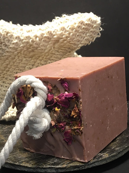 Soap on a Rope with Sisal Mitt