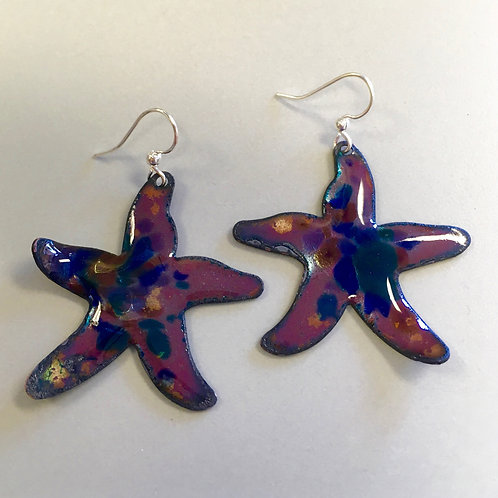 Vitreous Enamel Earrings • Deep Blue Ocean Starfish