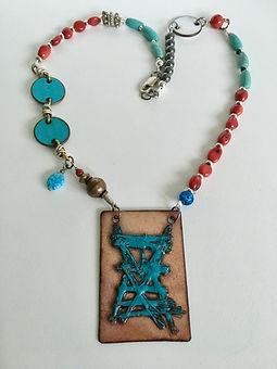 Multi Gem & Embroidered Enamel Necklace