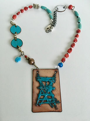 Multi Gem & Embroidered Enamel Necklace