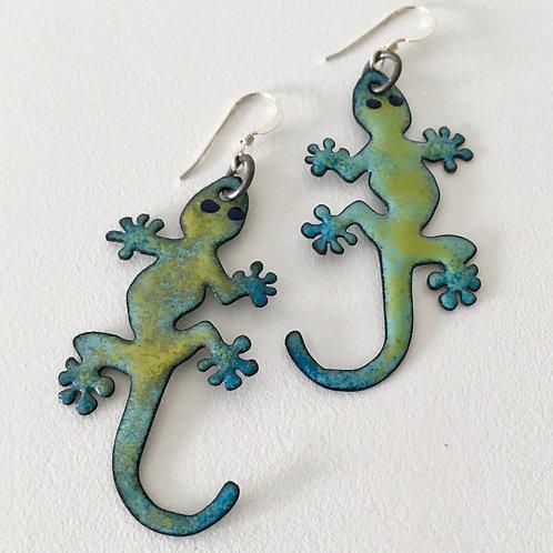 Gecko Enamel Earrings