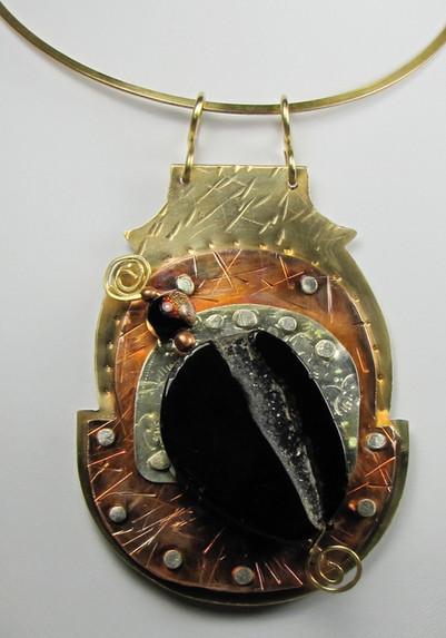 Copper, Bronze, Silver & Druzy Agate Pendant