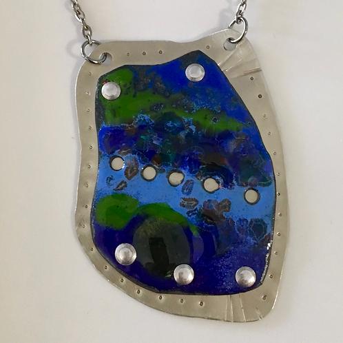Vitreous Enamel Necklace • Sapphire Sea