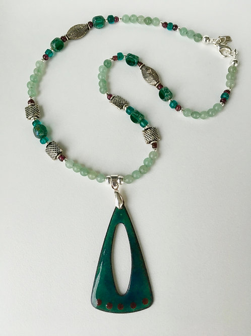 Open Triangle Necklace in Forest Green