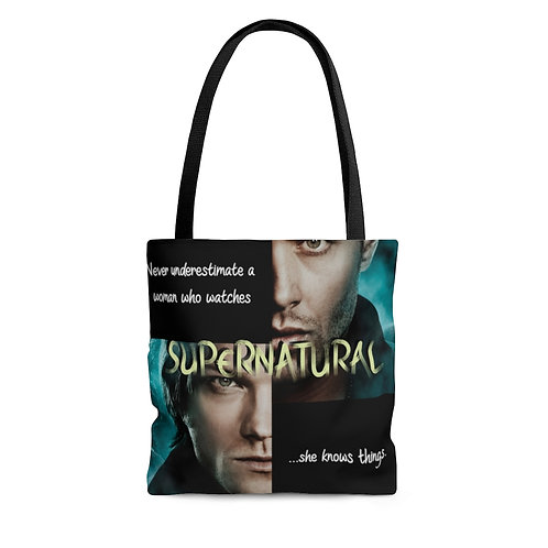 Supernatural Never Underestimated A Woman Dean Sam Winchester Tote Bag
