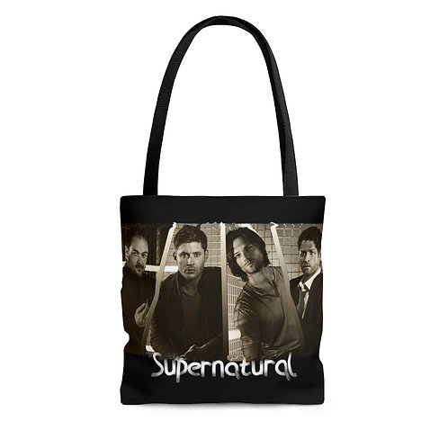 Supernatural Crowley Dean Sam Castiel Title Tote Bag
