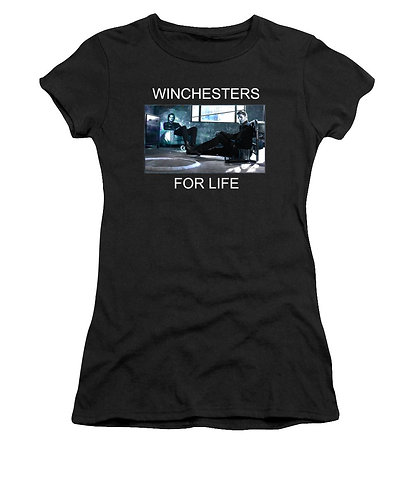 Supernatural Ipurgatory Winchesters For Life Women's Black Tank Top or T-Shirt