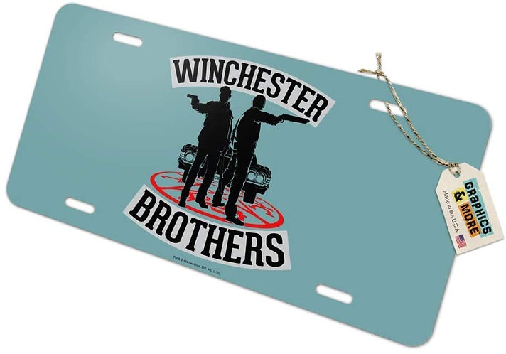 Supernatural Ipurgatory Winchester Brothers Silhouette Blue License Plate
