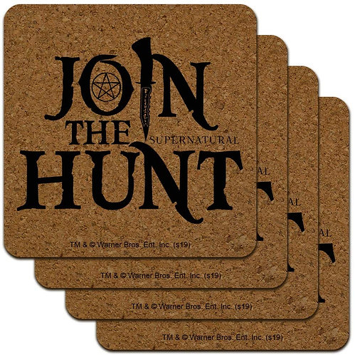 Supernatural Join the Hunt Cork Set of 4 Coasters