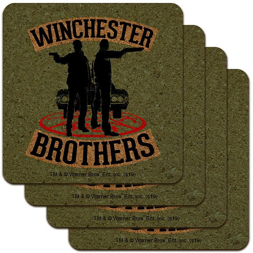 Supernatural Winchester Brothers Silhouette Square Cork Set of 4