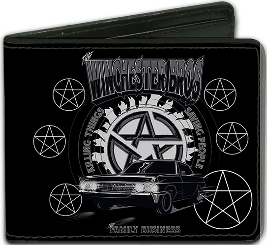 Supernatural Ipurgatory Winchester Bros Impala Symbols Bi-Fold Wallet
