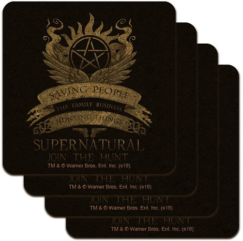 Supernatural Saving People Family Business Crest Black Cork Set of 4 Coasters