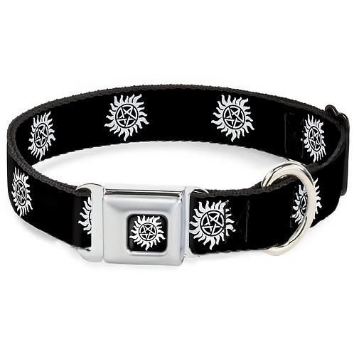 Supernatural Anti-Possession Symbol Black White Dog Collar