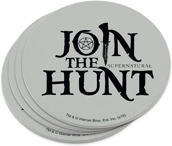 Supernatural Join the Hunt Gray Set of 4 Coasters