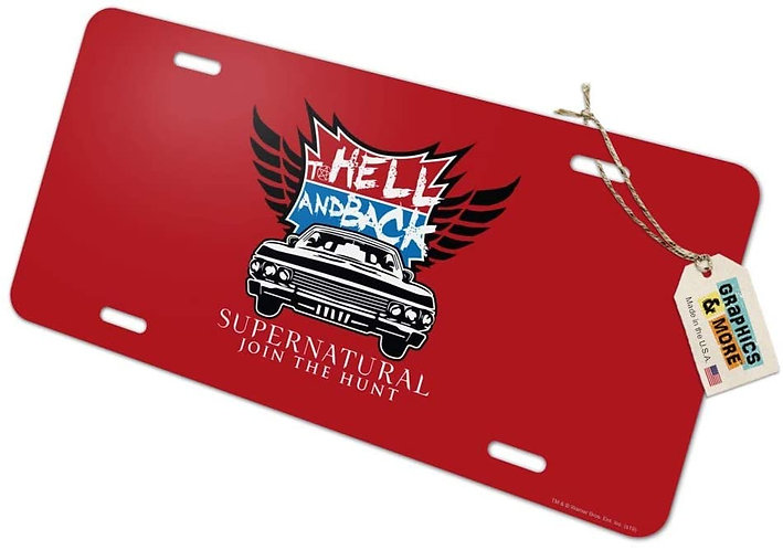 Supernatural Ipurgatory Hell and Back Impala Wings Red License Plate