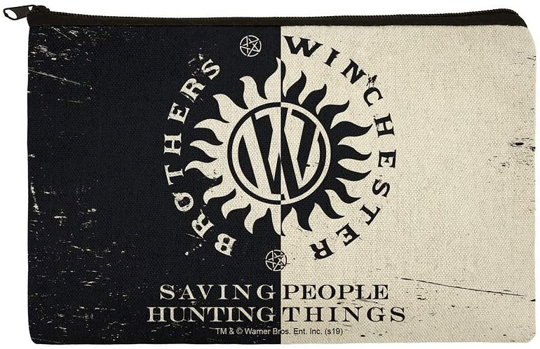 Supernatural Ipurgatory Winchester Brothers Crest Canvas Pencil Organizer Pouch