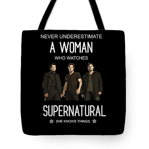 Supernatural Ipurgatory Never Underestimate A Woman Who Watches Tote Bag