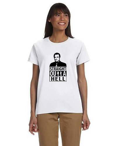 Supernatural Crowley Straight Outta Hell Black N White T-Shirt