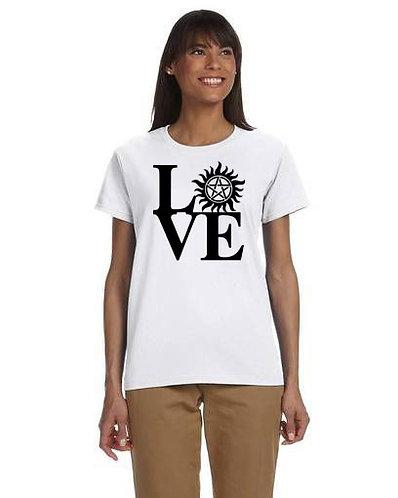 Supernatural Love Anti-Possession Symbol Black N White T-Shirt