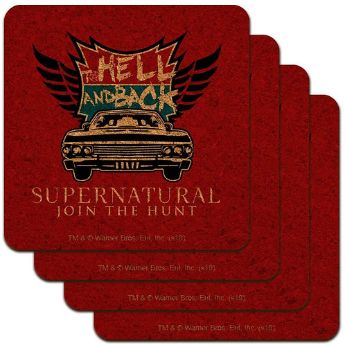 Supernatural Ipurgatory Hell and Back Red Cork Set of 4 Coasters