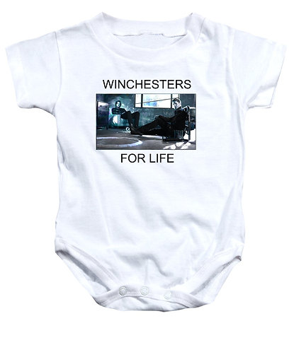 Supernatural Ipurgatory Winchesters For Life White Baby Onsies