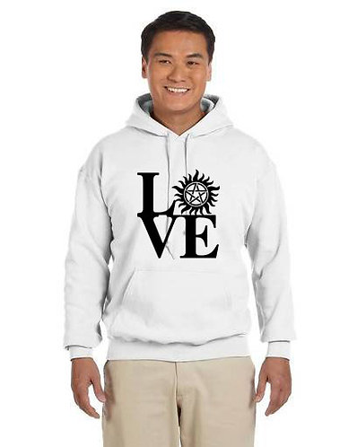 Supernatural Love Anti-Possession Symbol Black N White Hoodie
