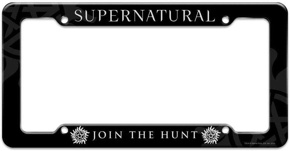Supernatural Ipurgatory Title Join the Hunt Logo License Plate Frame