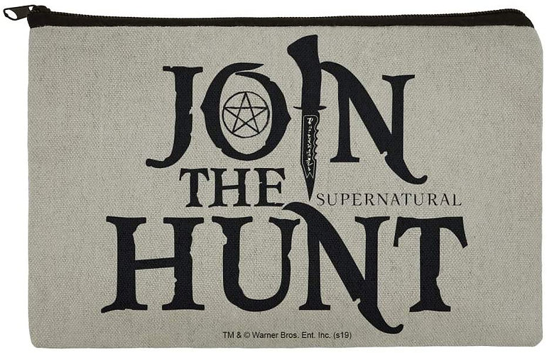 Supernatural Join the Hunt Gray Canvas Pencil Organizer Pouch