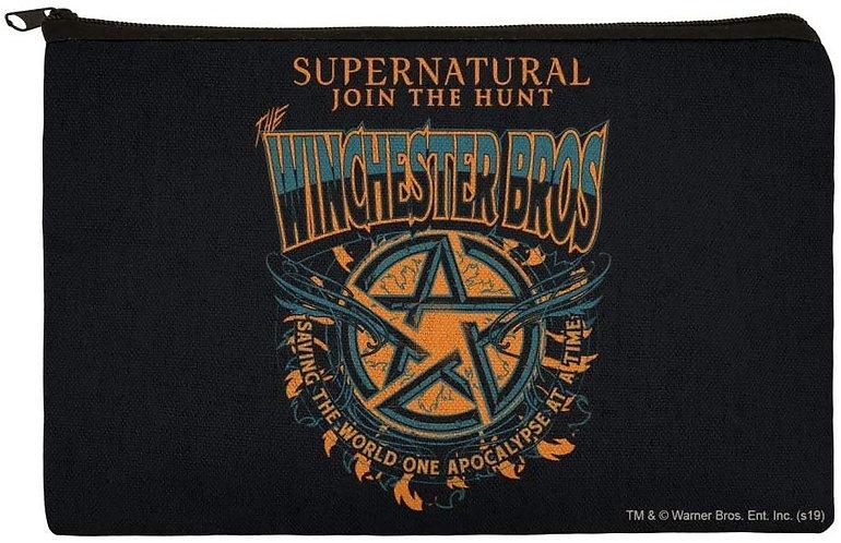 Supernatural Winchester Bros Pentagram Canvas Pencil Organizer Pouch