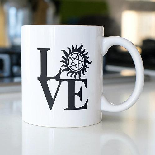 Supernatural Love Anti-Possession Symbol Black N White Mug