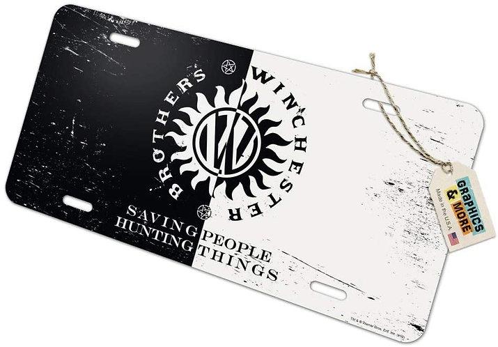 Supernatural Ipurgatory Winchester Brothers Crest White Black License Plate