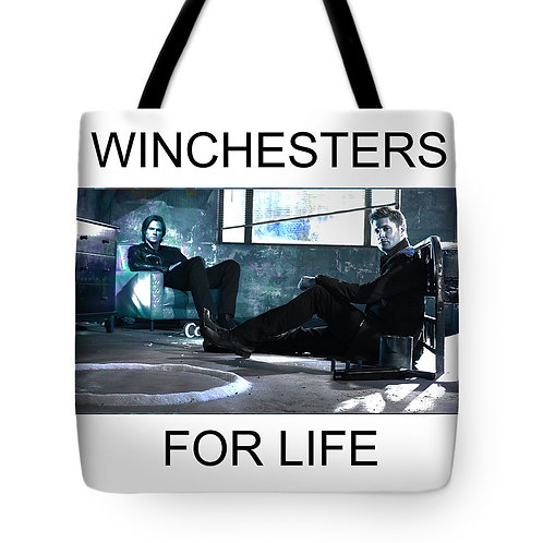 Supernatural Winchesters For Life Tote Bags