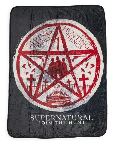 Supernatural Ipurgatory Title Join the Hunt Pentagram Fleece Throw Blanket