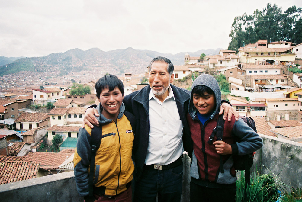 Professor Sabino and two students from Q'eros, Hecton and Eulogio.