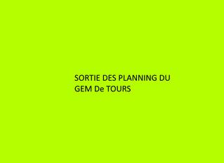 Sortie des plannings de septembre du gem de Tours