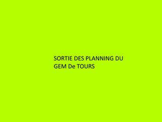 Sortie des plannings des GEM Tours pour début Février 2021