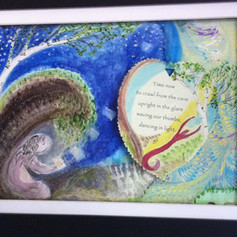 Mixed Media in shadow frame with painting behind painted hanging Peace Leaf. $65