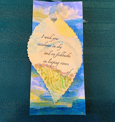 """""""Leaping"""" Boxed mixed media poetry hanging"""