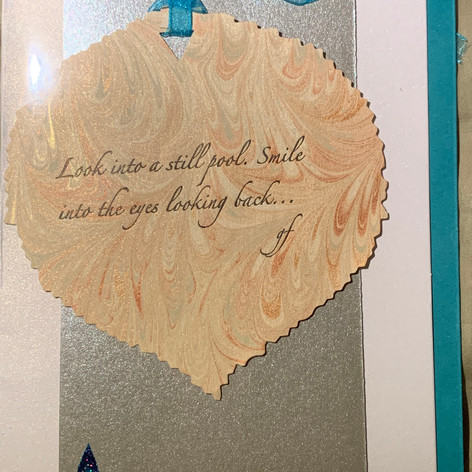 One of a kind card card with letterpressed poem on marbled paper. $7