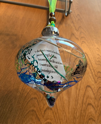 """Glass poetry ornament: """"Frog"""""""