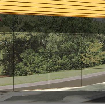 Aluminum frame with glass overlay.