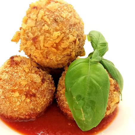 Smoked Haddock & Mozzarella Arancini, with Tomato & Basil Sauce