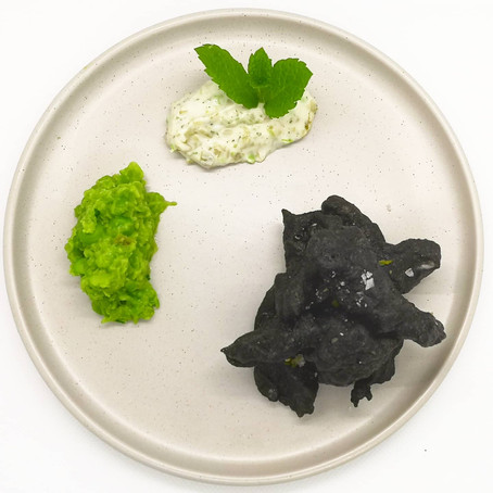 Squid Ink Tempura Battered Sea Bream, Crushed Minted Garden Peas & Homemade Tartare Sauce