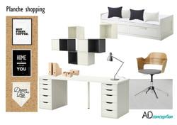 Planche shopping bureau black and white