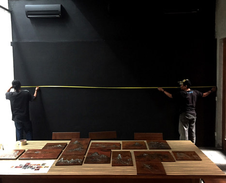 "Setting Up Day 5, 12 Sep 2017 The team at Dia.lo.gue is preparing to display the  ""Explore/Escape - Session I"", a 12-piece installation. . the setting up of ""Life Force : a solo exhibition"""