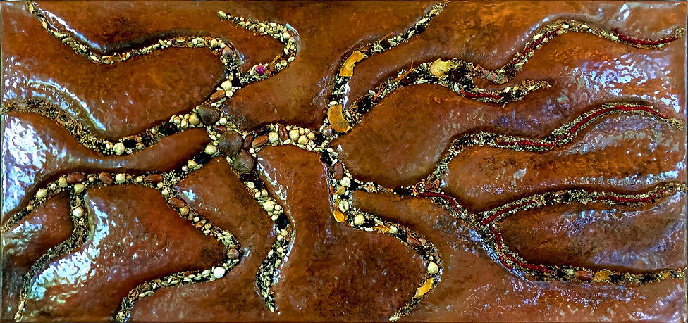 Rivers by Lie Fhung ©2017 | various spices from Indonesia, copper | 60 x 126 cm