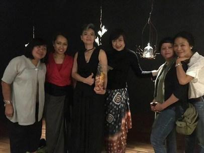 with art college friends: Ms. Uli, Ms. Riri, Ms. Ria, Ms. Asih, Ms. Keke