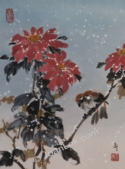 Poinsettia and Sparrows