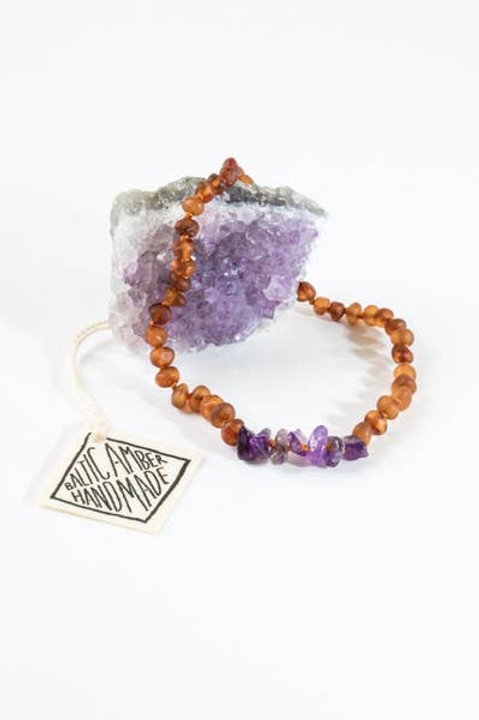 Raw Baltic Amber & Amethyst Necklace